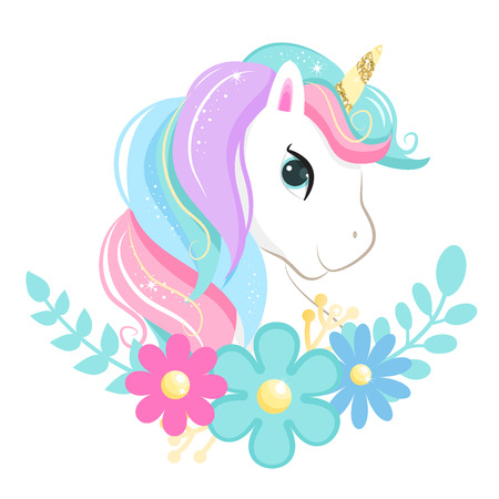 Cute magic cartoon unicorn head with flowers. Illustration for children. Isolated on white background