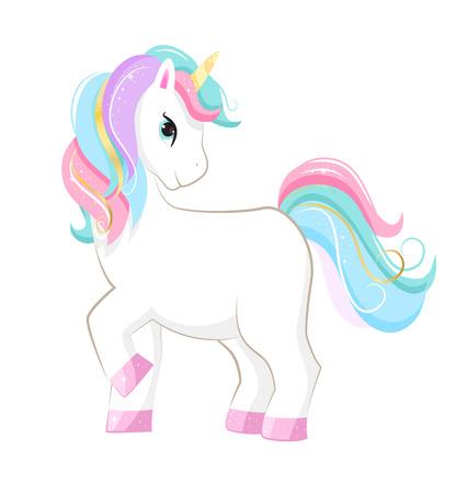 Cartoon unicorn Isolated on white background. Vector illusrtation. Illusztráció