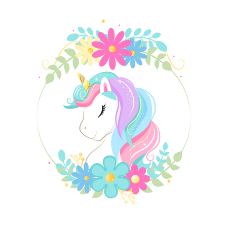 Cute magic cartoon unicorn head with frame of flowers. Illustration for children. Isolated on white background. For print on t-shirt Ilustração