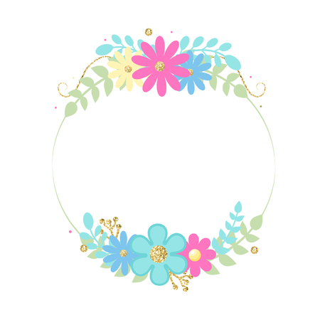 Cute frame with flowers. Vector illustration, Glitter. Blue, pink colors