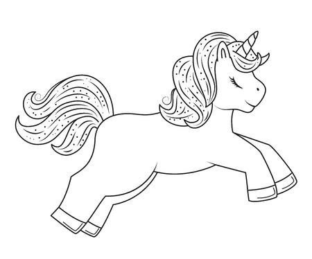 Cute outline doodle unicorn with hand drawn elements. Coloring page.Vector illustration Ilustração