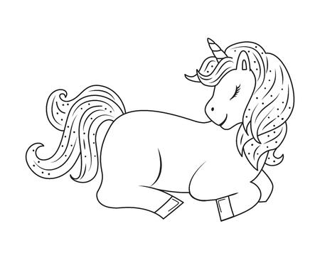 Cute outline doodle unicorn lies. Hand drawn elements Ilustração