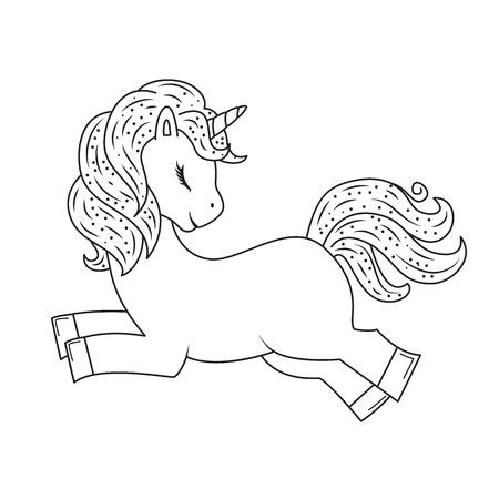 Cute outline doodle unicorn jumps. Hand drawn elements Ilustração