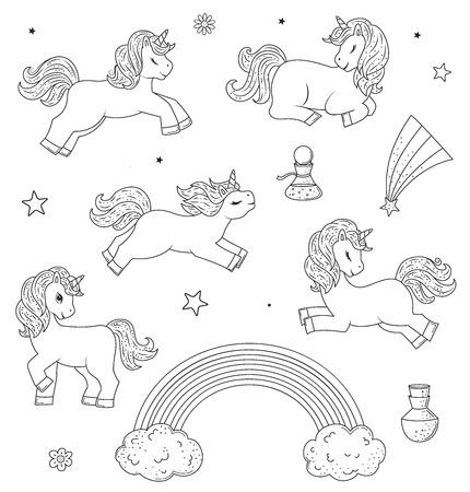 Set of cute outline doodle unicorns .Hand drawn elements Ilustração