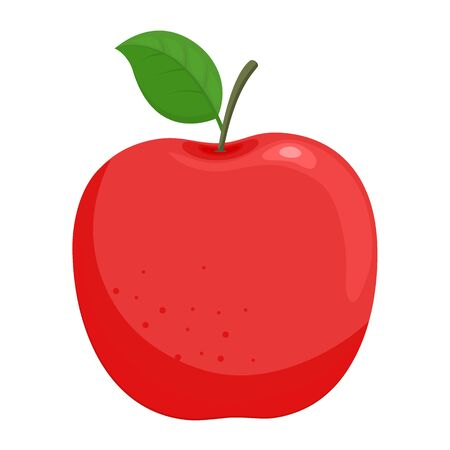 Red ripe vector apple with green leaf