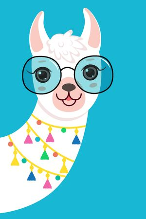 Cute white llama Llama Head in Sunglasses. Isolated on white background. Cartoon style Ilustração