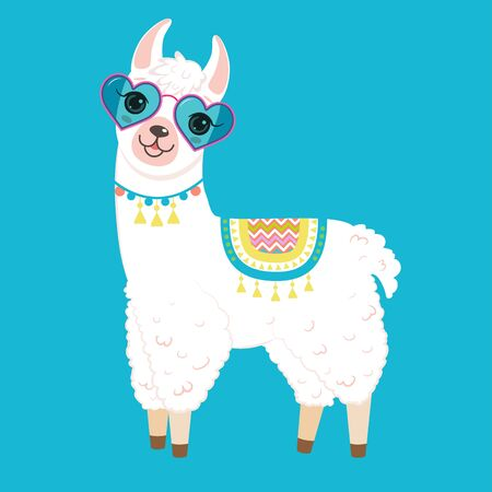 Cute white llama in heart shaped sunglasses. Isolated on white background. Cartoon style