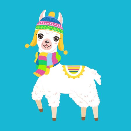 Cute white llama in a hat and scarf. Isolated on white background. Cartoon style Ilustração
