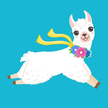 Funny jumping white llama with colorful flowers Isolated on white background. Cartoon style
