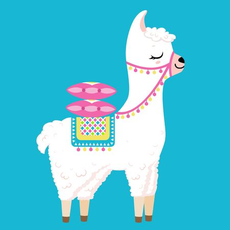 Cute white llama with colorful pillows on the back. Isolated on white background. Cartoon style