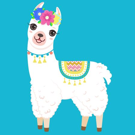 Cute white llama with colorful flowers on the head. Isolated on white background. Cartoon style