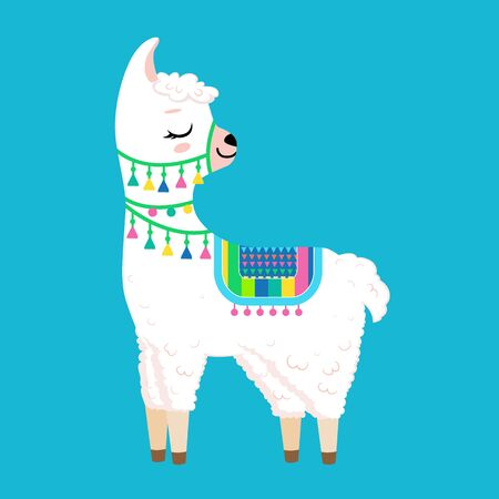 Cute white llama with closed eyes.Isolated on white background. Cartoon style Ilustração