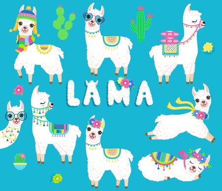 White cute llama clipart.Isolated on white background. Cartoon style