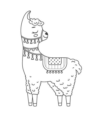Cute outline doodle lama with hand drawn elements. Vector illustration.Coloring pages