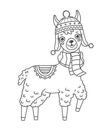 Cute outline doodle llama in hat and scarf with hand drawn elements. Vector illustration.Coloring pages