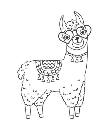 Cute outline doodle llama in sunglasses with hand drawn elements. Vector illustration.Coloring pages