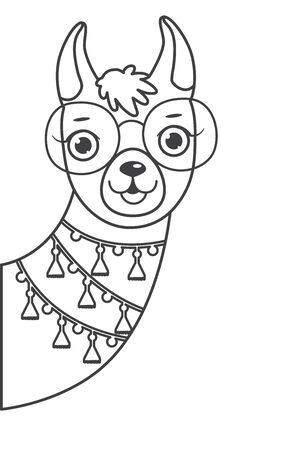 Cute outline doodle llamas head hand drawn elements. Vector illustration.Coloring pages