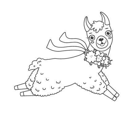 Cute outline doodle jumping lama with hand drawn elements. Vector illustration.Coloring pages
