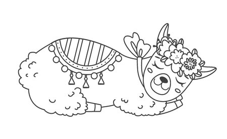 Cute outline doodle sleeping lama with hand drawn elements. Vector illustration.Coloring pages