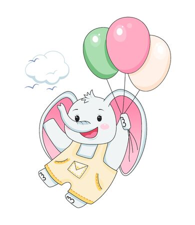 baby elephant with balloons. Design element for baby shower card, scrapbooking, invitation, nursery, poster. Isolated on white background. Vector illusrtation