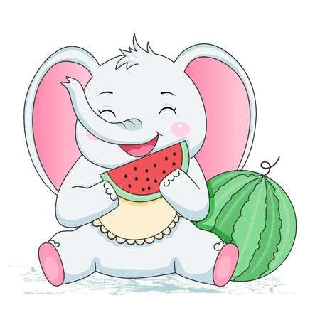 baby elephant eating watermelon. Design element for baby shower card, scrapbooking, invitation, nursery, poster. Isolated on white background. Vector illusrtation
