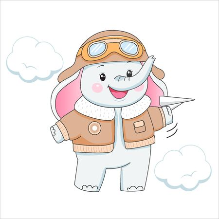Funny baby elephant in aviator clothes with plane.. Design element for baby shower card, scrapbooking, invitation, nursery, poster. Isolated on white background. Vector illusrtation