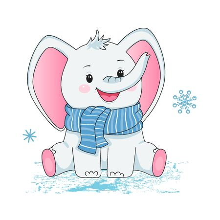 Small grey baby elephant in scarf. Design element for baby shower card, scrapbooking, invitation, nursery, poster. Isolated on white background. Vector illusrtation