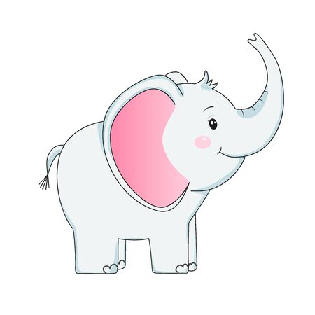 Funny baby elephant. Design element for baby shower card, scrapbooking, invitation, nursery, poster. Isolated on white background. Vector illusrtation