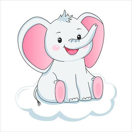 Cute baby elephant on cloud. Design element for baby shower card, scrapbooking, invitation, nursery, poster. Isolated on white background. Vector illusrtation Illusztráció