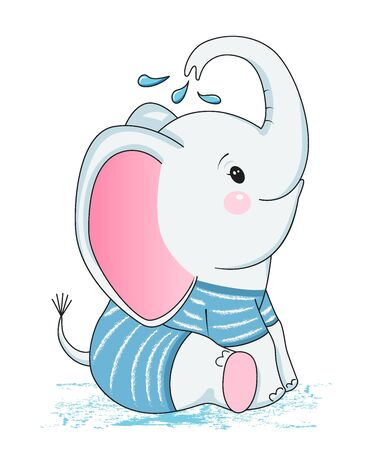 baby elephant in sailor suit. Design element for baby shower card, scrapbooking, invitation, nursery, poster. Isolated on white background. Vector illusrtation