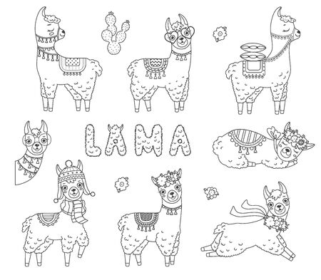 Collection of cute outline doodle llamas with hand drawn elements. Coloring page.Vector illustration