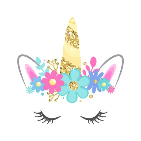 Unicorn face with closed eyes and flowers. Gold glitter horn. Vector illustration. Isolated on white background