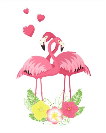 Set of loving couples of pink flamingos.Vector illustration. Isolated on white background