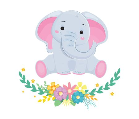 Cute baby elephant with wreath of flowers. Design element for baby shower card, scrapbooking, invitation, nursery, poster. Isolated on white background. Vector illusrtation