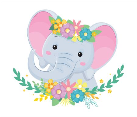 Head of grey elephant in flowers. Design element for baby shower card, scrapbooking, invitation, nursery, poster. Isolated on white background. Vector illusrtation