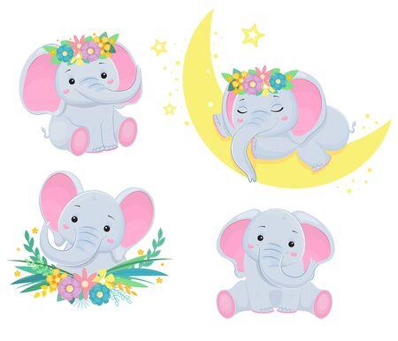 Set di elefantini. Elemento di design per baby shower card, scrapbooking, invito, asilo nido, poster. Isolato su sfondo bianco. Illustrazione vettoriale