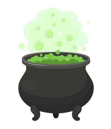 Witch cauldron with green potion. Cartoon vector illustrarion Illusztráció