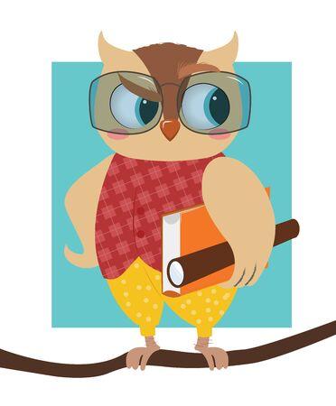 Owl teacher with a book.Cartoon style. Vector illustration Illusztráció