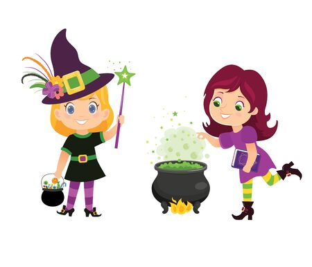Halloween witches with witch cauldron and hat in cartoon style.Vector illustration