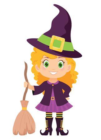 Halloween witch with broom and hat. Vector illustration. Illusztráció