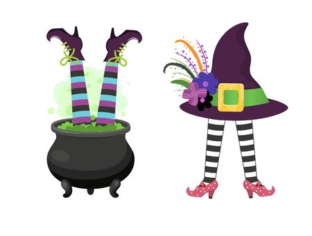 Set of design elements for halloween.Vector illustration.Isolated on white background