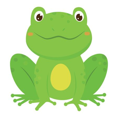Green smiling frog. Cartoon style. Vector illustration Çizim