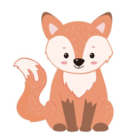 Red cute fox, illustration for children. Cartoon style. Isolated on white background. Vector illustration.