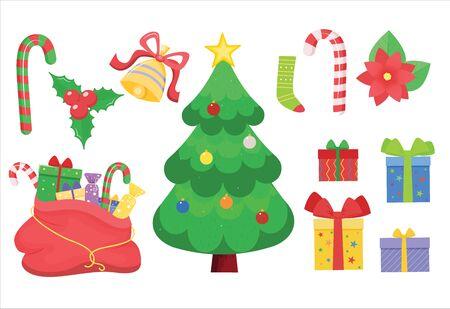 Christmas vector set. Christmas tree and bag with gifts.Cartoon style