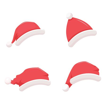 Santa Claus red hats. Vector illustration. Isolated on white background