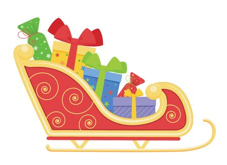Santa Claus sleigh with christmas gifts. Vector cartoon illustration.Isolated on white background