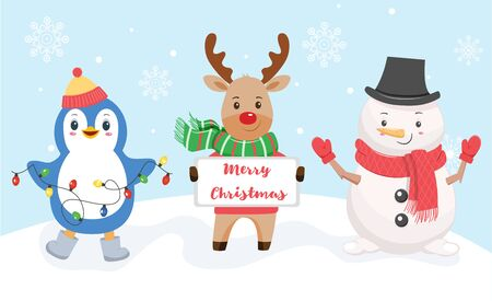 Penguin, deer and snowman on a snowy background. Vector illustration