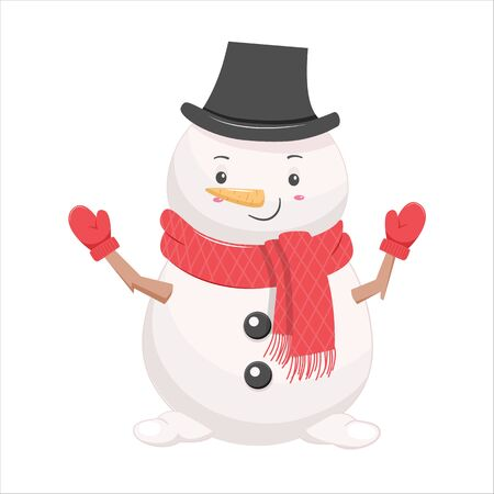 Funny cartoon snow man in black hat. Vector illustration.Isolated on white background