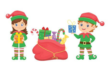 Cute christmas elves with gifts.Vector illustration. Isolated elements