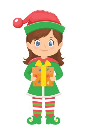 Cute cartoon elf with gift. Christmas character